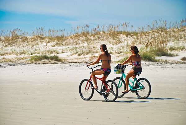 Bike riding on Anastasia State Park Beach